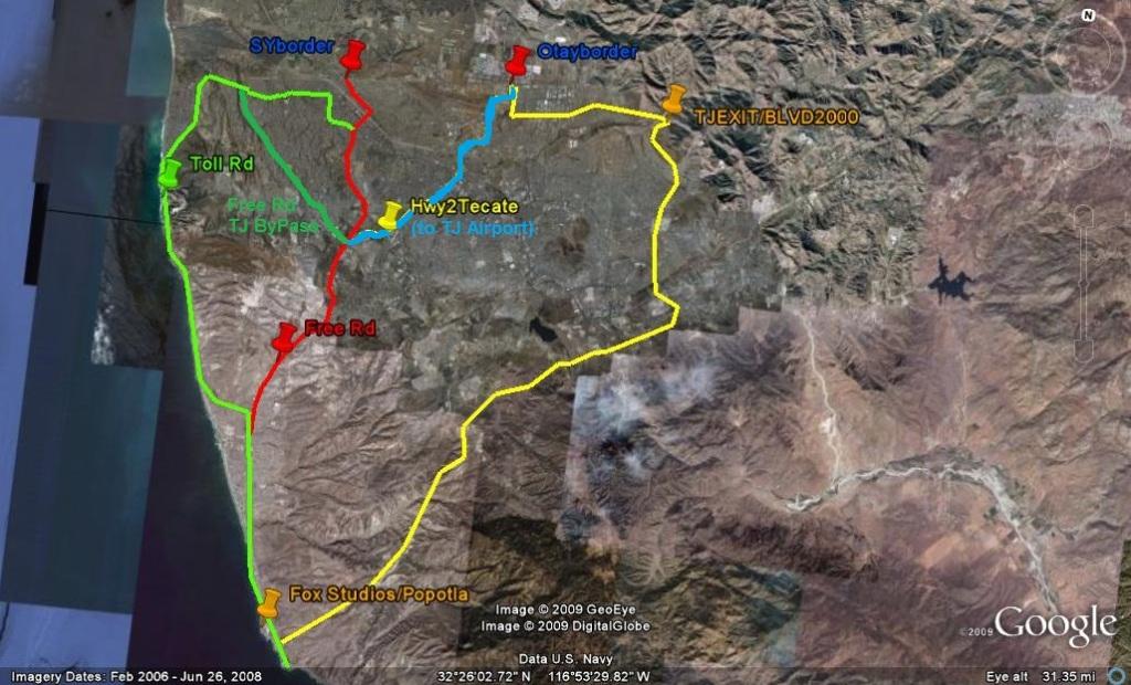 Tijuana Border Detour MarApr   EXPAT In BAJA Mexico - Google maps us border to rosarito mexico