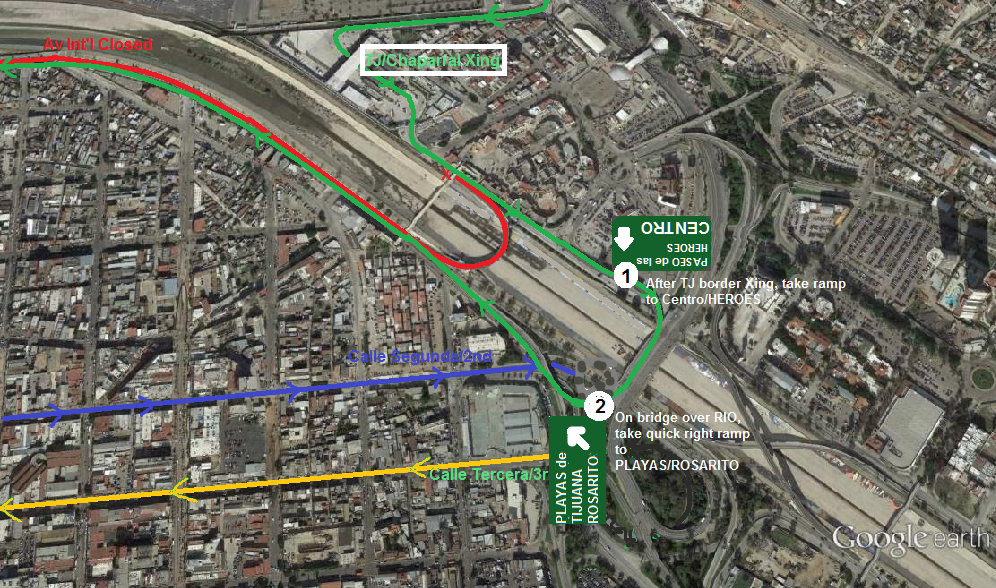 Tijuana Border Southbound Detour  EXPAT In BAJA Mexico - Google maps us border to rosarito mexico