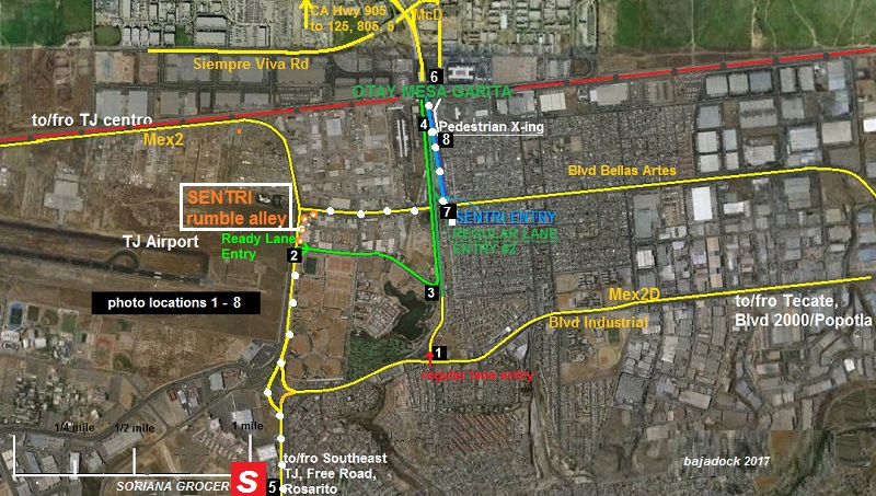 Otay mesa crossing map expat in baja mexico otay mesa crossing map sciox Gallery